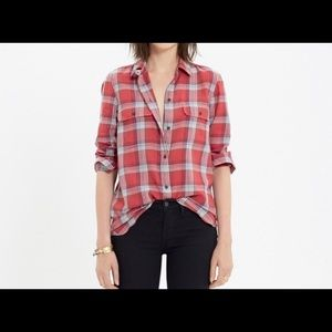 Madewell ex boyfriend cherry plaid shirt M